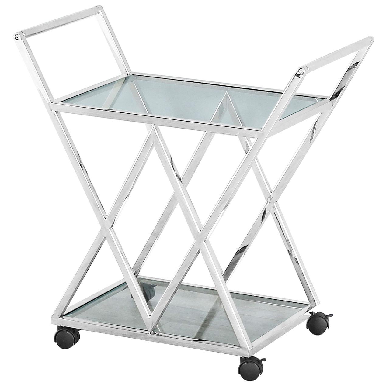 Сервірувальний (журнальний) стіл K-01 прозорий + срібло від ТМ Vetro Mebel