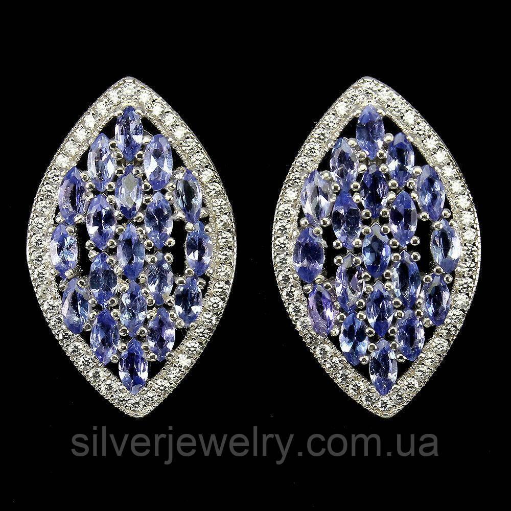 Срібні сережки з ТАНЗАНИТОМ (натуральний), срібло 925 пр.