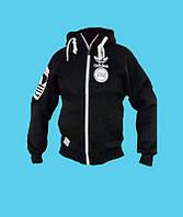 Кенгурушка,кофта с капюшоном,Adidas трикотажная, зимняя.Чёрная.7104