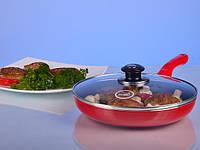 Сковорода HILTON 2425 красная FP 24см, 4,5мм с крышкой