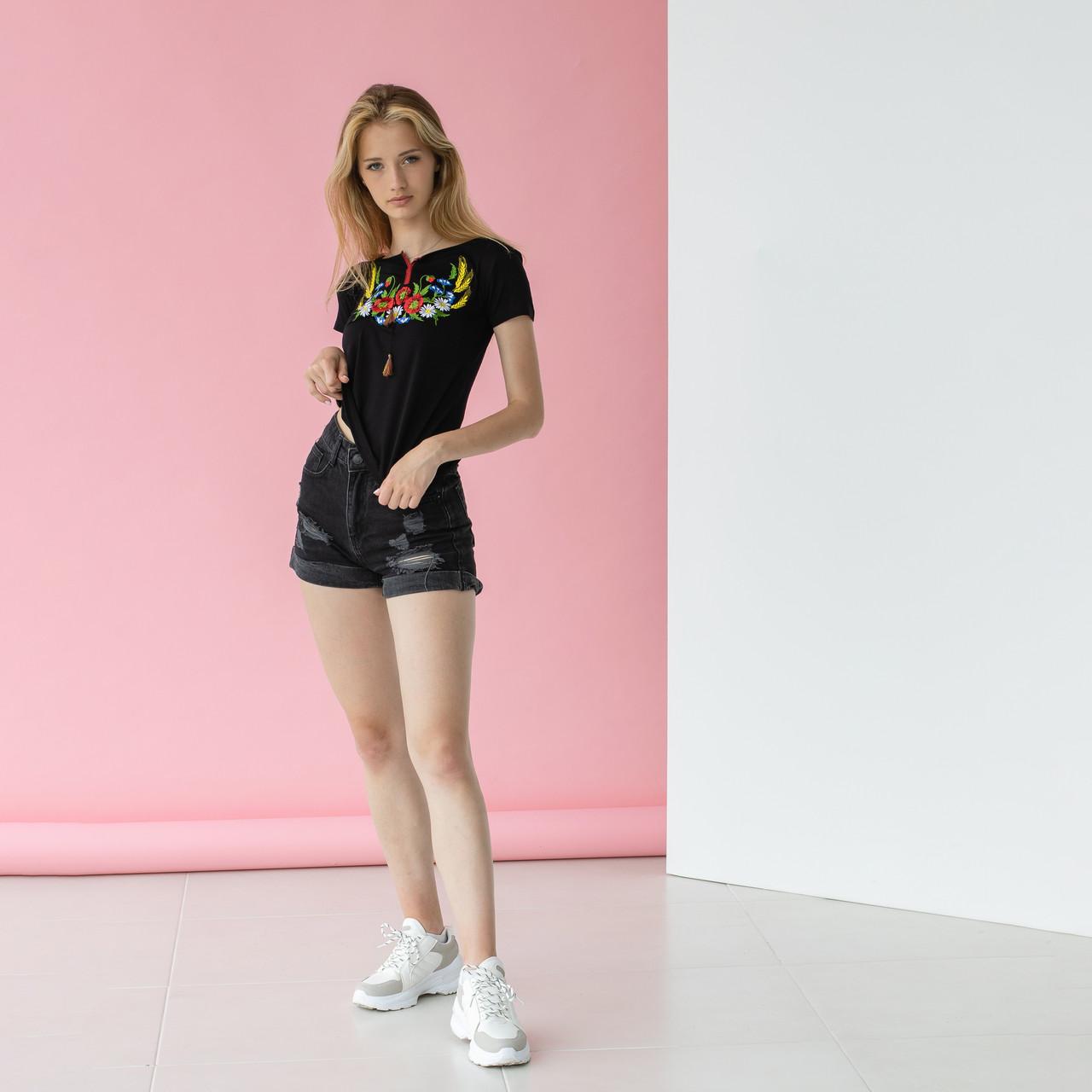 Трикотажна футболка вишиванка жіноча Колосок