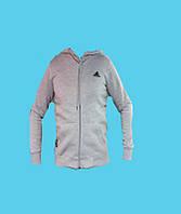 Кенгурушка,кофта с капюшоном,Adidas трикотажная, зимняя.Светло-серая.7108