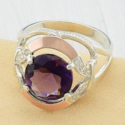 Кольцо серебряное женское с золотом Анжелика вставка фиолетовый фианит размер 19.5
