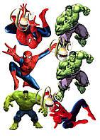 Печать вафельной (рисовой) или сахарной картинки на торт, топеры Человек паук и Халк