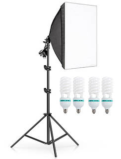 Комплект постоянного студийного света софтбокс на 4 лампы Prolighting 50x70 + Стойка + Лампы 85 Вт.