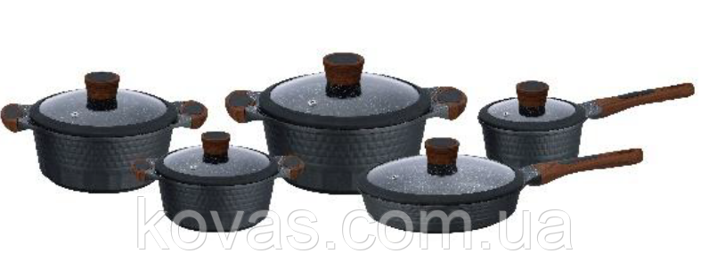 Набор посуды с трехслойным мраморным покрытием ковшиком и сковородой Edenberg EB-5648 - 10 пр