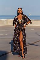 Женская летняя пляжная туника с шифона с принтом 42-48 50-56 длинная парео на море пляж накидка с поясом