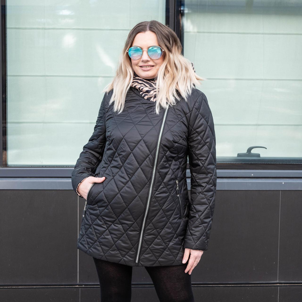 Женская демисезонная  куртка  большие размеры  50-60 черный