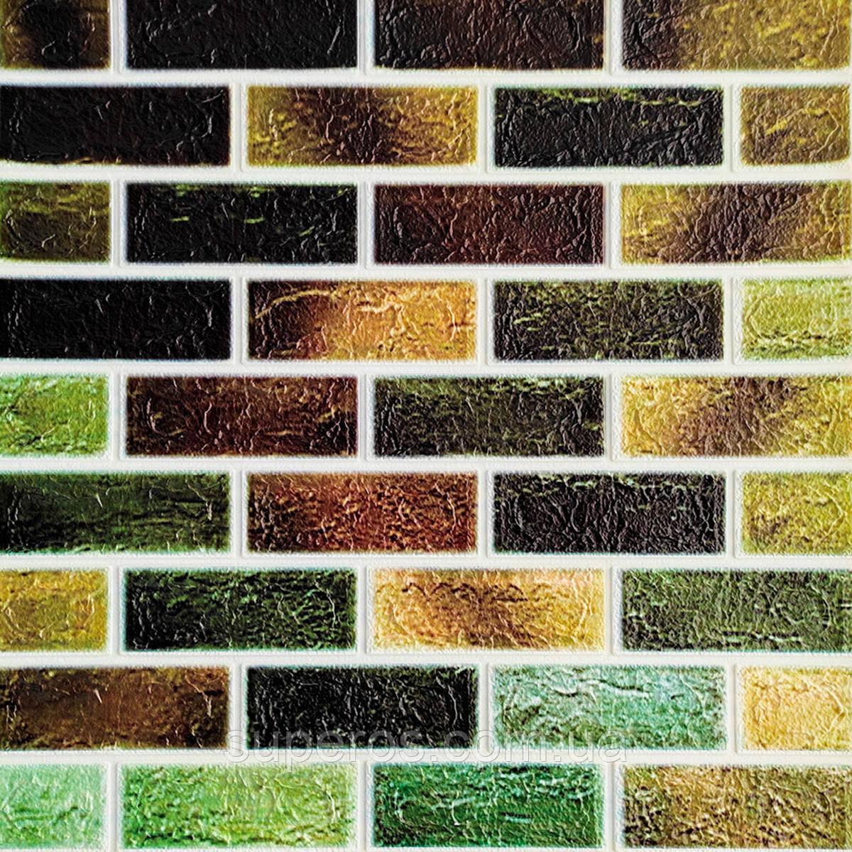 Самоклеющаяся декоративная 3D панель под кирпич зеленый микс 700x770x5мм (141)