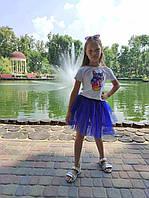 Фатиновая двостороння спідниця кольору електрик 3-9 років, фото 1
