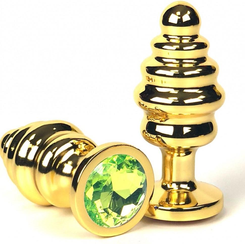 Анальна пробка метал ялинка золота L size + мішечок