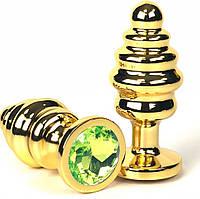 Анальна пробка метал ялинка золота L size + мішечок, фото 1