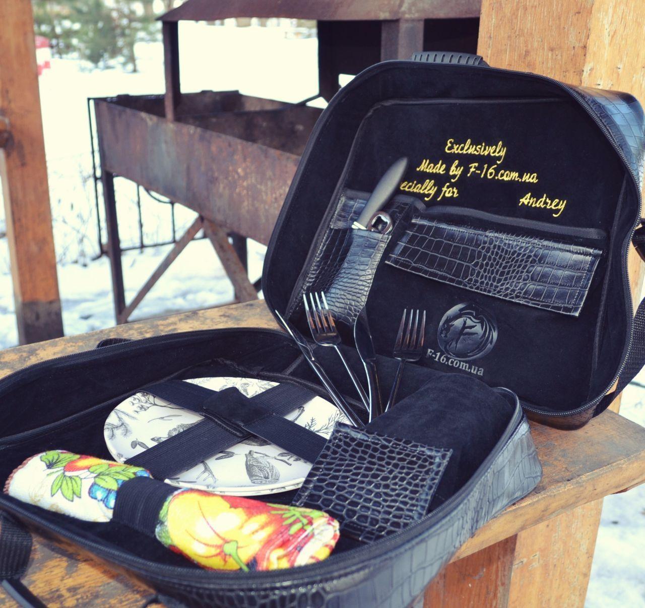 Сумка  набор посуды Пикник на 2 персоны F-16 подарочная эксклюзив именная
