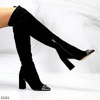 Черные замшевые эластичные женские сапоги ботфорты на флисе