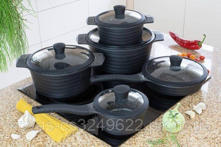 Набір посуду Edenberg EB-9185 - 10пр, мармурове покриття