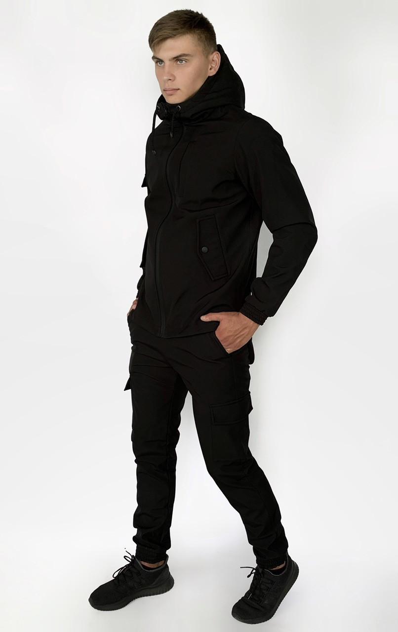 Костюм мужской Softshell Intruder черного цвета. Мужской костюм утепленный демисезонный черный цвет.