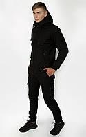 Костюм мужской Softshell Intruder черного цвета. Мужской костюм утепленный демисезонный черный цвет., фото 1