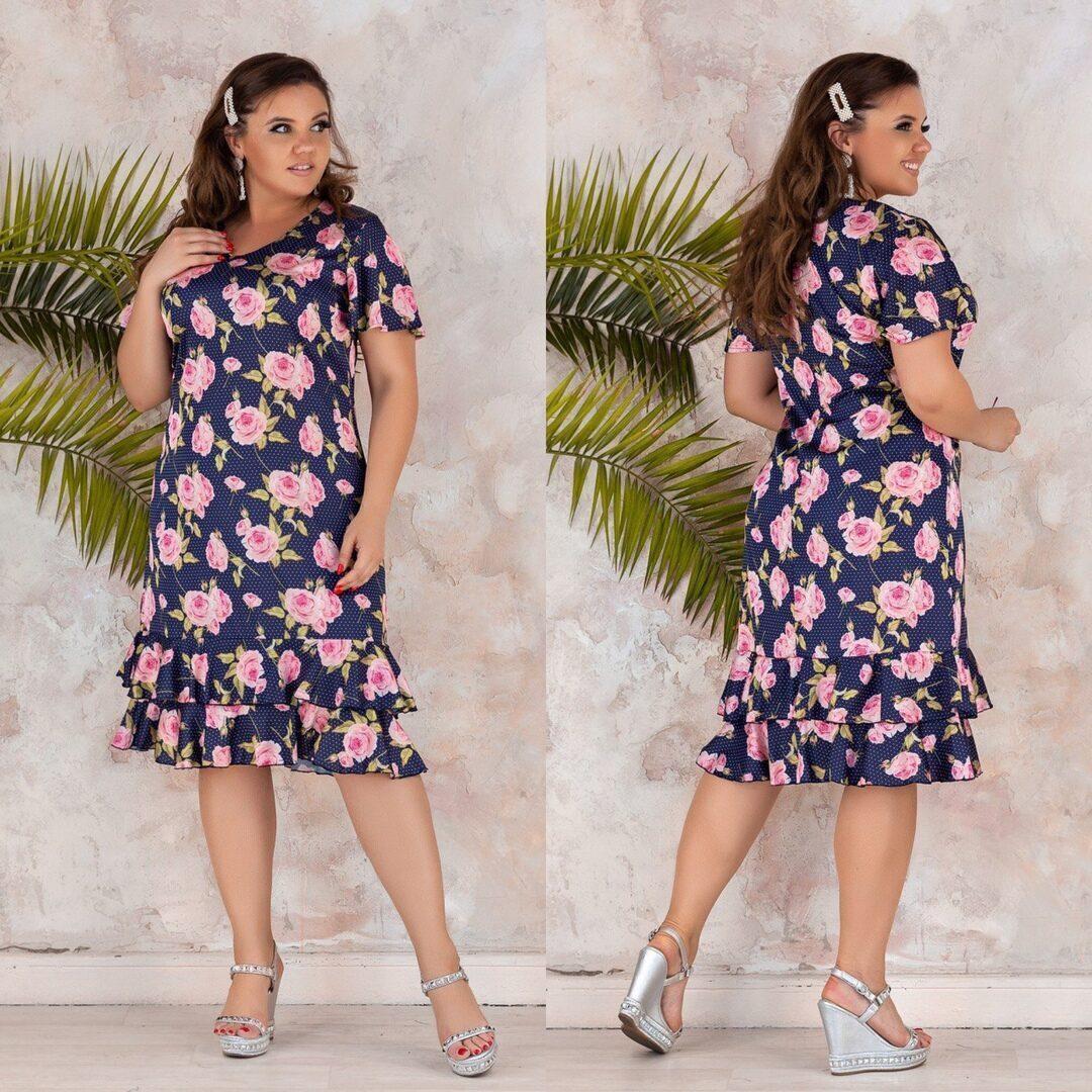 Нежное женское платье с цветочным принтом Ткань Шелк Армани 54 размер