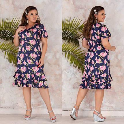 Нежное женское платье с цветочным принтом Ткань Шелк Армани 54 размер, фото 2