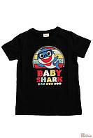 """Дитяча футболка з накаткою """"Baby Shark"""". Пісенька акулятко. Чорний колір. (Роздріб)."""