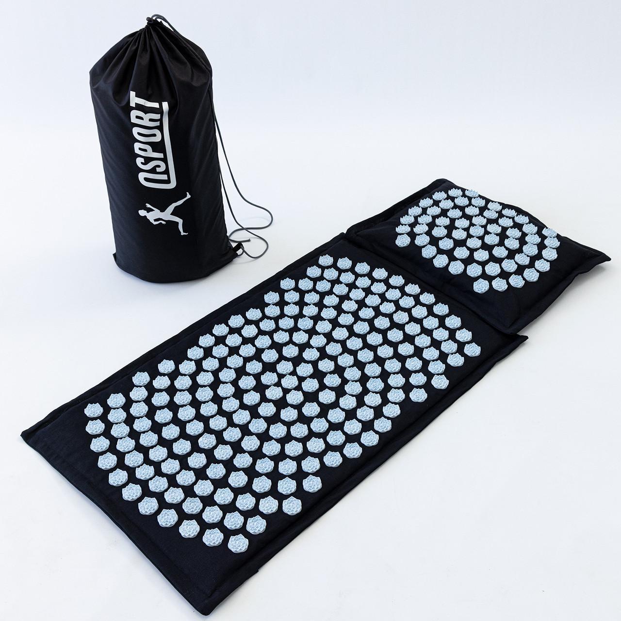 Масажний килимок Аплікатор Кузнєцова + масажна подушка масажер для шиї OSPORT Lotus Mat Eco (apl-020)