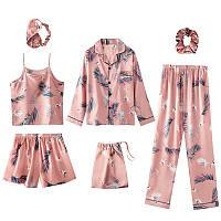 Комплект шелковый для сна, дома из 7 предметов. Пижама женская в стиле VS, размер XL (розовый)