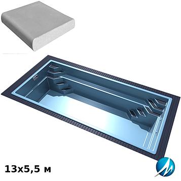 Комплект для отделки борта стекловолоконного бассейна 13х5,5 м копинговым камнем