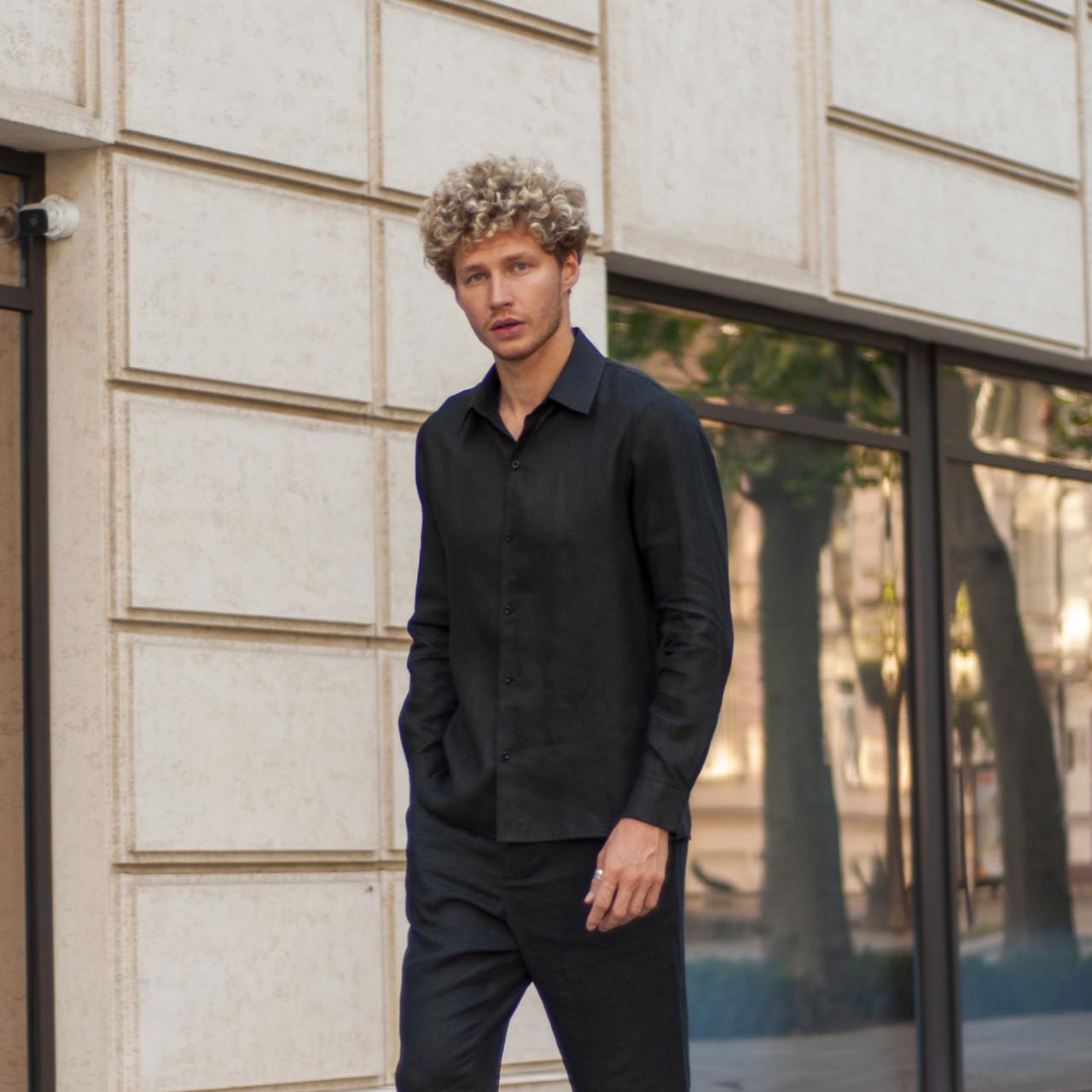 Лляна сорочка чорного кольору