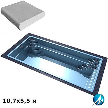 Комплект для отделки борта стекловолоконного бассейна 10,7х5,5 м копинговым камнем