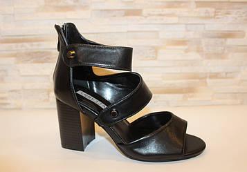 Босоножки женские черные на каблуке Б1235