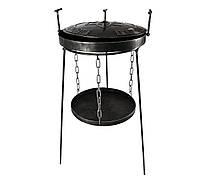 Сковорода садж из диска бороны с крышкой 40 см Мега Патриот и подставкой для огня, сковорода для кемпинга