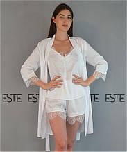 Комплект на утро невесты Este халат майка шорты с кружевом белый.