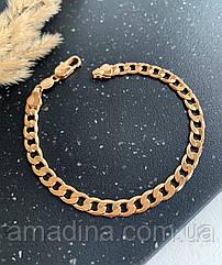 Мужской браслет медзолото панцирный, классический браслет золотой xuping медсплав