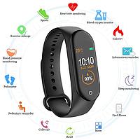 Умные фитнес часы с измерением давления Smart Band M4. Фитнес браслет. Смарт часы. Фитнес трекер Реплика