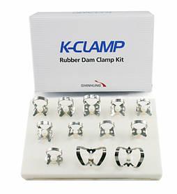 Набір для кламерів кофердамів 12 шт, на пластиковій автоклавуємий підставці K-Clamp, 12 шт