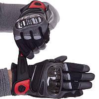Мотоперчатки шкіряні з закритими пальцями чоловічі SCOYCO MC78WP розмір M, фото 1