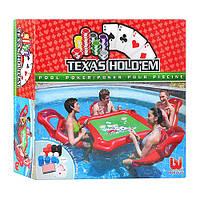 BW Набор для игры в покер на воде 43096  стол, надув кресла 4шт, аксессуары, в кор-ке, 35-33-8см