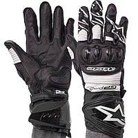 Мотоперчатки зимние кожаные с закрытыми пальцами мужские Alpinestars AX-19 размер M White, фото 1