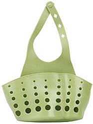 Подвесная корзинка-органайзер для кухонных губок и принадлежностей, пищевой силикон ANGO зеленый