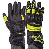 Мотоперчатки зимние кожаные с закрытыми пальцами мужские Alpinestars AX-19 размер L Green, фото 1