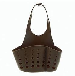 Подвесная корзинка-органайзер для кухонных губок и принадлежностей, пищевой силикон ANGO коричневый