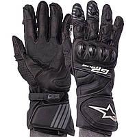 Мотоперчатки зимові шкіряні з закритими пальцями чоловічі Alpinestars AX-18 розмір L Чорні, фото 1