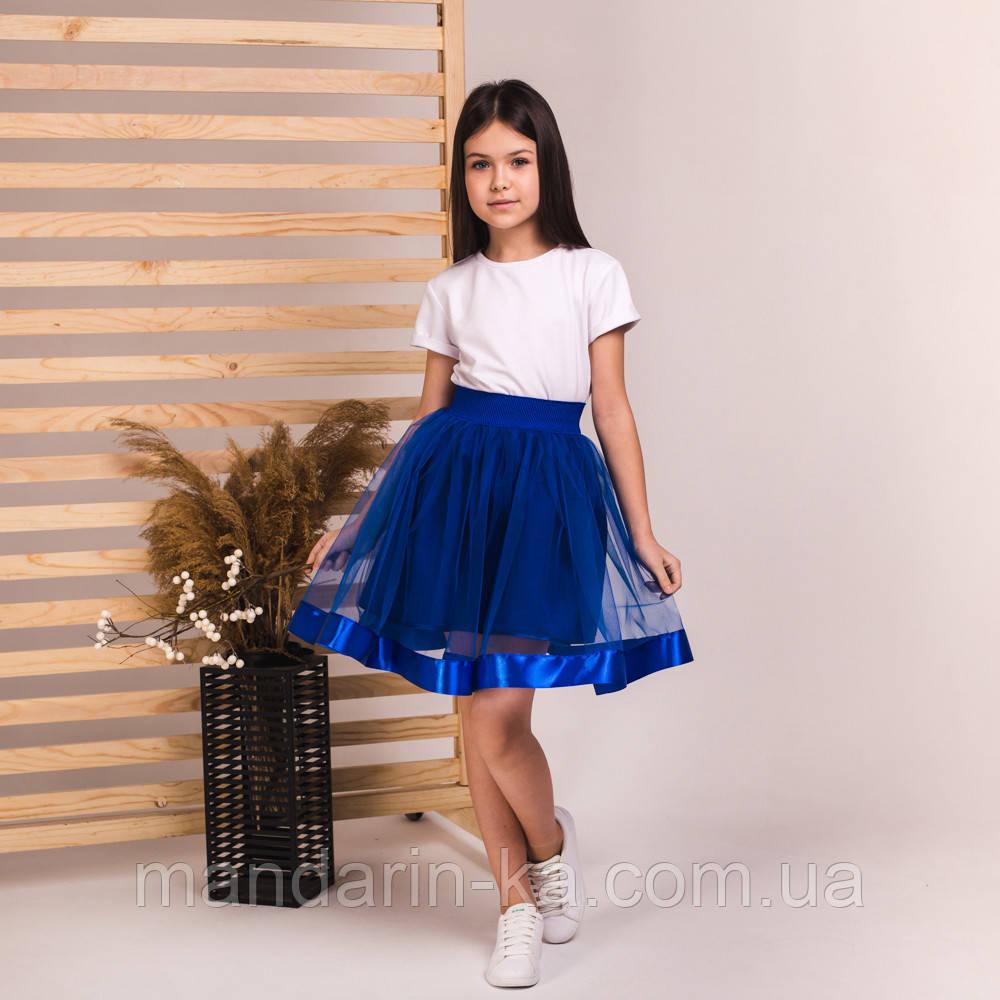 Детская пышная юбка маричка синего цвета