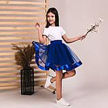 Детская пышная юбка маричка синего цвета, фото 2