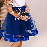 Детская пышная юбка маричка синего цвета, фото 3