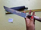 Пчак ніж. Козуля, ріг рукоять, гарда олово гравірування. ШХ-15, фото 5