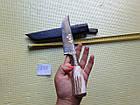 Пчак ніж. Козуля, ріг рукоять, гарда олово гравірування. ШХ-15, фото 3