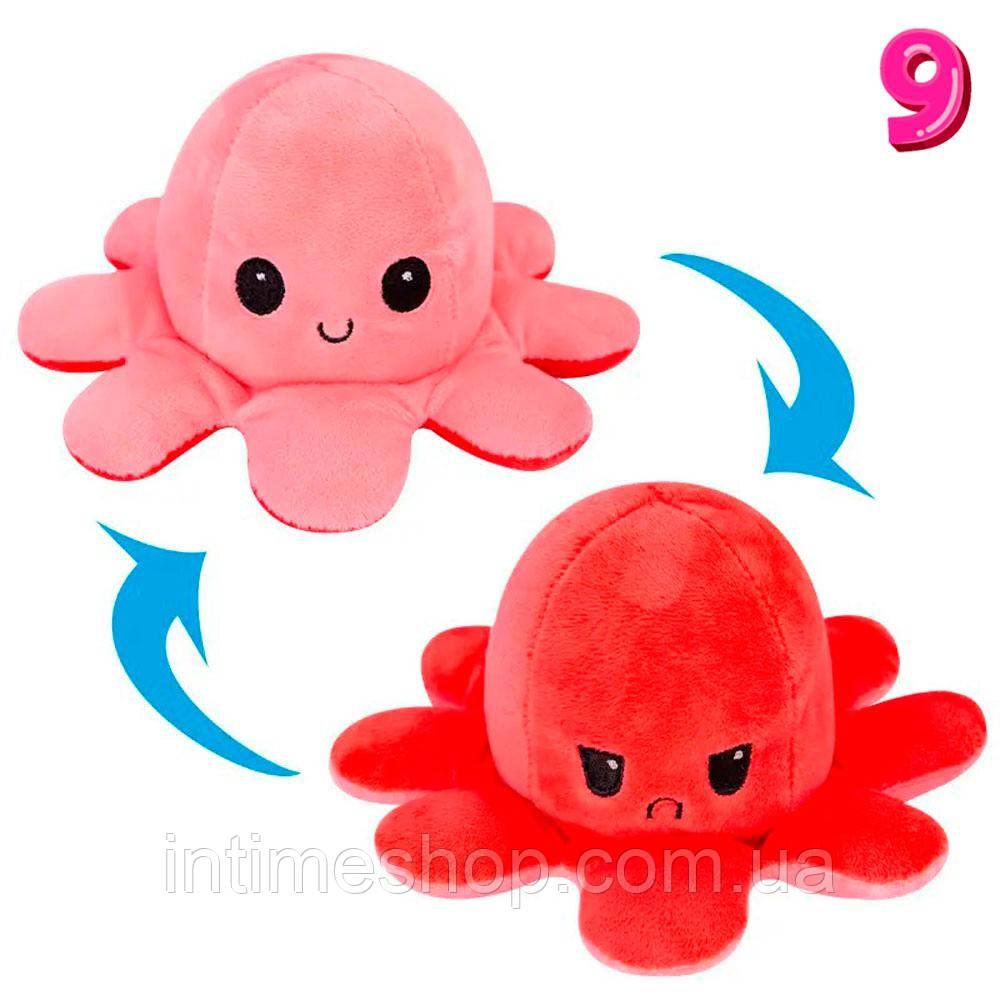 Іграшка восьминіг двосторонній Рожево-червоний плюшевий восьминіг перевертень 2 в 1 (осьминог настроение)