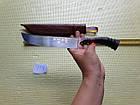 Узбекский нож. Подарок мужчине. Пчак большой-шеф. Косуля, широкая рукоять, гарда олово гравировка. ШХ-15, фото 7