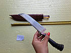 Узбекский нож. Подарок мужчине. Пчак большой-шеф. Косуля, широкая рукоять, гарда олово гравировка. ШХ-15, фото 6